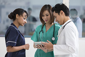 Diverse nurses working together